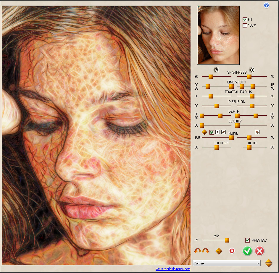 Fractalius plugin creates unusual, eccentric artworks in a single step. The effects are based on extraction of so-called hidden fractal texture of an image. You can also simulate various types of exotic lightings and high realistic pencil sketches.